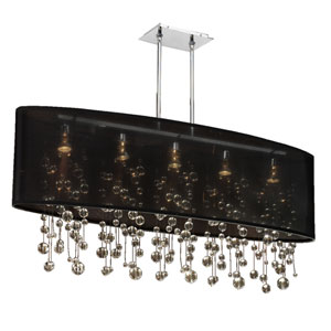 Soho Crystal, Silver and Black 45-Inch Five-Light Linear Pendant