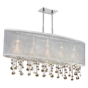 Soho Crystal, Silver and White 45-Inch Five-Light Linear Pendant