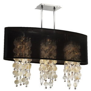 Soho Oyster Shell and Crystal, Silver and Black 33-Inch Three-Light Linear Pendant