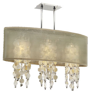 Soho Oyster Shell and Crystal, Silver and Taupe 33-Inch Three-Light Linear Pendant