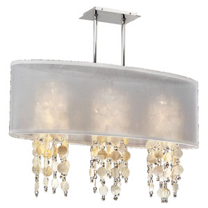 Soho Oyster Shell and Crystal, Silver and White 33-Inch Three-Light Linear Pendant