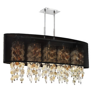 Soho Oyster Shell and Crystal, Silver and Black 45-Inch Five-Light Linear Pendant