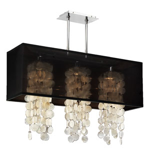 Omni Capiz, Silver and Black 33-Inch Three-Light Linear Pendant