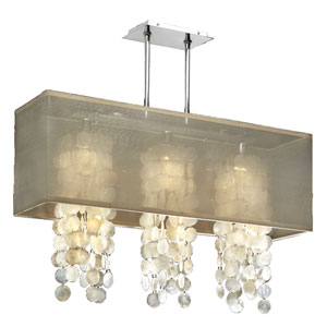 Omni Capiz, Silver and Taupe 33-Inch Three-Light Linear Pendant