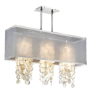 Omni Capiz, Silver and White 33-Inch Three-Light Linear Pendant