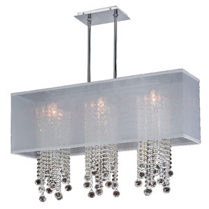 Omni Crystal, Silver and White 33-Inch Three-Light Linear Pendant