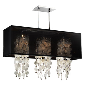 Omni Capiz and Crystal, Silver and Black 33-Inch Three-Light Linear Pendant