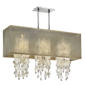 Omni Capiz and Crystal, Silver and Taupe 33-Inch Three-Light Linear Pendant