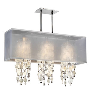 Omni Capiz and Crystal, Silver and White 33-Inch Three-Light Linear Pendant