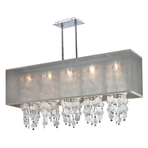 Omni Capiz and Crystal, Silver and Taupe 44-Inch Five-Light Linear Pendant