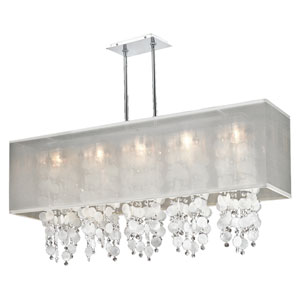 Omni Capiz and Crystal, Silver and White 44-Inch Five-Light Linear Pendant