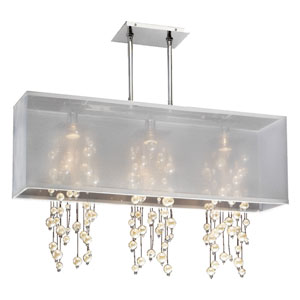 Omni Pearl and Crystal, Silver and White 33-Inch Three-Light Linear Pendant