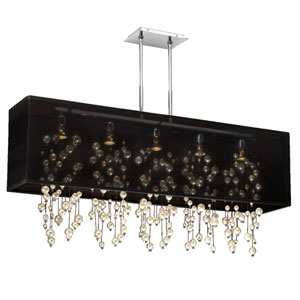 Omni Pearl and Crystal, Silver and Black 44-Inch Five-Light Linear Pendant