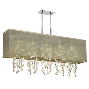 Omni Pearl and Crystal, Silver and Taupe 44-Inch Five-Light Linear Pendant