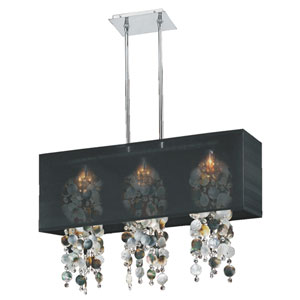 Omni Mother of Pearl and Crystal, Silver and Black 33-Inch Three-Light Linear Pendant