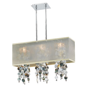 Omni Mother of Pearl and Crystal, Silver and Taupe 33-Inch Three-Light Linear Pendant