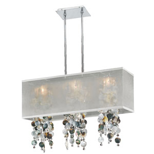 Omni Mother of Pearl and Crystal, Silver and White 33-Inch Three-Light Linear Pendant