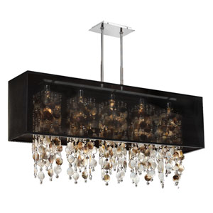 Omni  Mother of Pearl and Crystal, Silver and Black 44-Inch Five-Light Linear Pendant