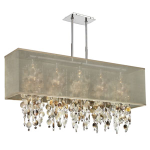 Omni  Mother of Pearl and Crystal, Silver and Taupe 44-Inch Five-Light Linear Pendant
