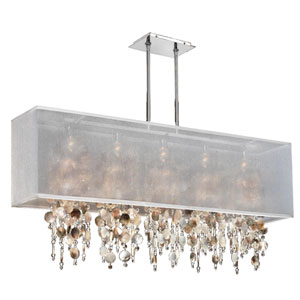 Omni Mother of Pearl and Crystal, Silver and White 44-Inch Five-Light Linear Pendant