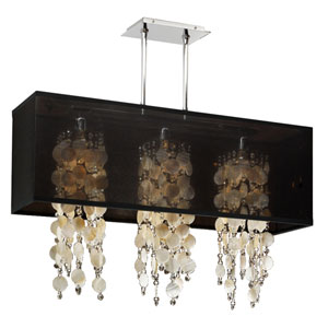 Omni Oyster Shell and Crystal, Silver and Black 33-Inch Three-Light Linear Pendant