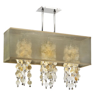 Omni Oyster Shell and Crystal, Silver and Taupe 33-Inch Three-Light Linear Pendant