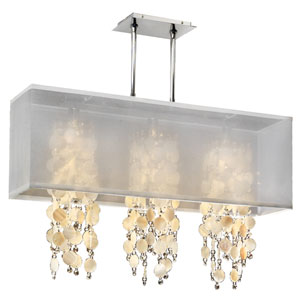 Omni Oyster Shell and Crystal, Silver and White 33-Inch Three-Light Linear Pendant