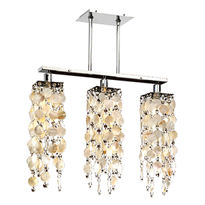 Chelsea Silver Pearl Three-Light Natural Chandelier with Oyster Shell