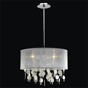 Around Town Crystal and Capiz Shell Three Light Pendant with Double Lined Sheer Shade