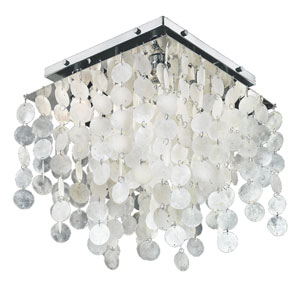 Cityscape Chrome Four-Light Capiz Shell Square Flush Mount