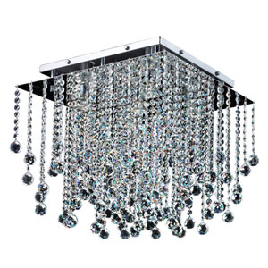 Cityscape Chrome 18-Inch Five-Light Flush Mount with Faceted Crystal Ball