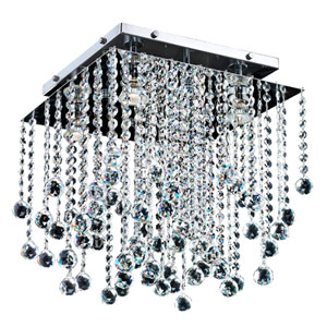 Cityscape Chrome 14-Inch Four-Light Flush Mount with Faceted Crystal Ball