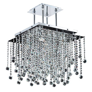 Cityscape Chrome 18-Inch Five-Light Chandelier with Faceted Crystal Ball
