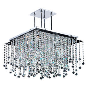 Cityscape Chrome 24-Inch Nine-Light Chandelier with Faceted Crystal Ball