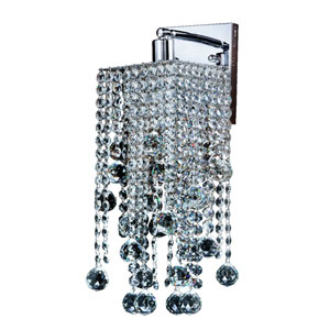 Cityscape Chrome One-Light Wall Sconce with Faceted Crystal Ball