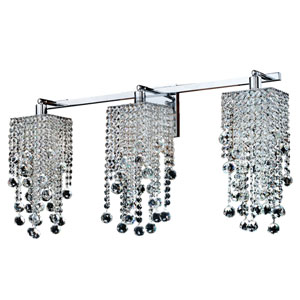 Cityscape Chrome Three-Light Wall Sconce with Faceted Crystal Ball