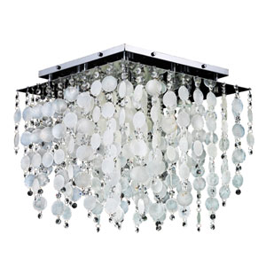 Cityscape Capiz Shell and Crystal Chrome 18-Inch Five-Light Flush Mount