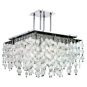 Cityscape Capiz Shell and Crystal Chrome 24-Inch Nine-Light Chandelier