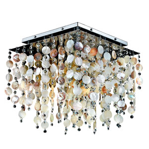 Cityscape Oyster Shell and Crystal Chrome 18-Inch Five-Light Flush Mount