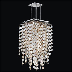 Cityscape Oyster Shell and Crystal Chrome 24-Inch Nine-Light Chandelier