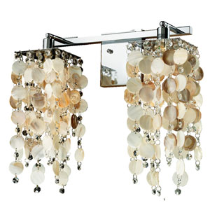 Cityscape Oyster Shell and Crystal Chrome Two-Light Wall Sconce