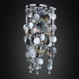 Ensconced 1 Light Wall Sconce with Mother of Pearl Shell and Crystal