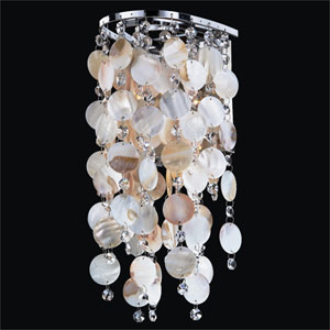 Ensconced Silver Pearl 1 Light Wall Sconce with Seashell and Crystal