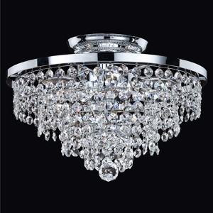 Vista Silver Pearl Six-Light Semi-Flush Mount with Signature Crystal