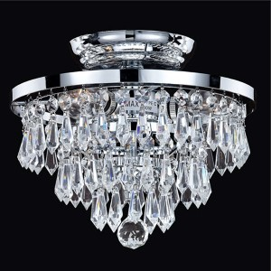 Vista Silver Pearl Three-Light Semi-Flush Mount with Signature Crystal