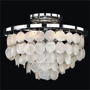 Bayside Capiz Shell Polished Chrome 13-Inch Width Six-Light Flush Mount