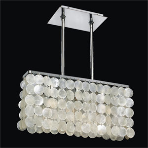 Surfside Capiz Shell Polished Chrome 17.5-Inch Width Three-Light Chandelier
