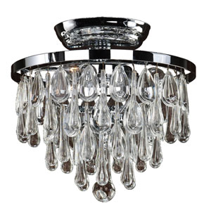 Summer Rain Chrome Three-Light Flush Mount