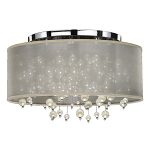 Champagne Tan and Chrome Five-Light Flush Mount