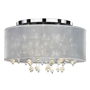 Champagne White and Chrome Five-Light Flush Mount